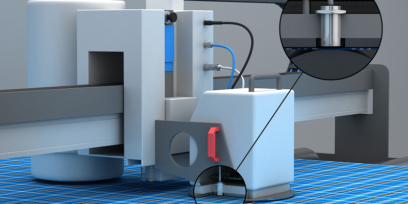Contrinex analogue inductive sensor on textiles measurement machineapplication